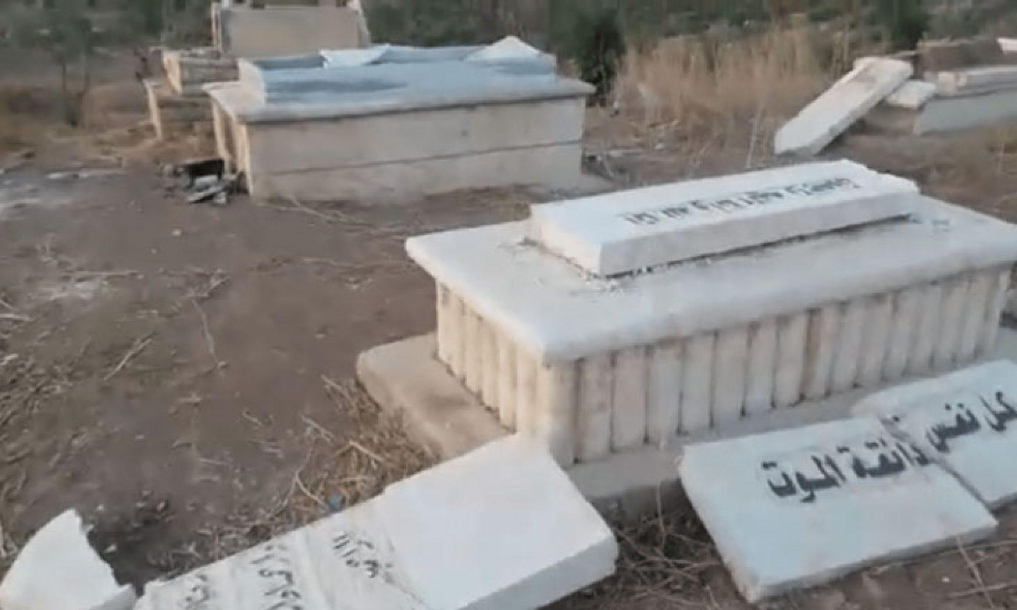 Türkiye'ye bağlı çeteler Afrin'de mezar taşlarını çaldı