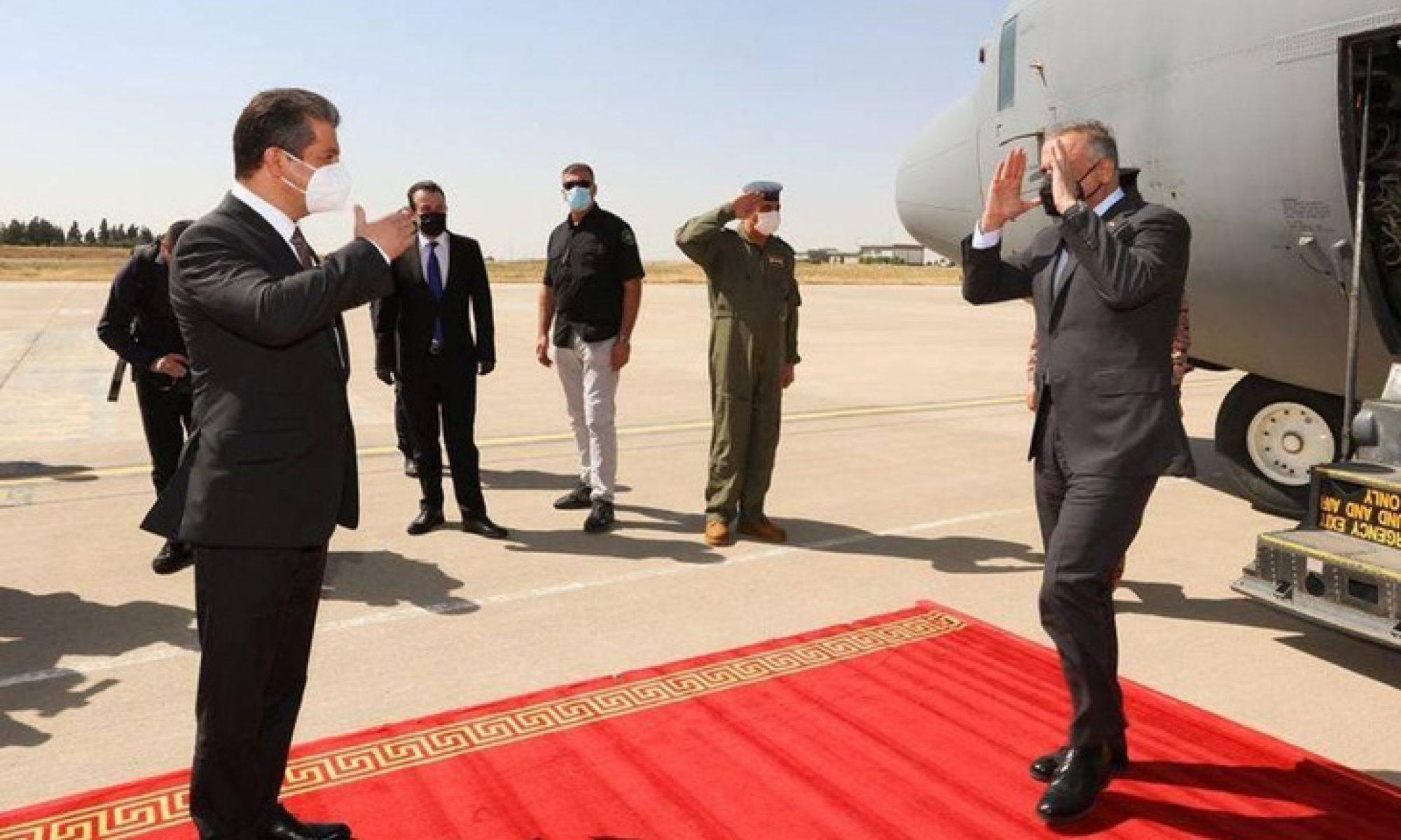 Irak Başbakanı Mustafa Kazimi Erbil'e ulaştı, Mesrur Barzani; Mesut Barzani; Kürdistan, KRG