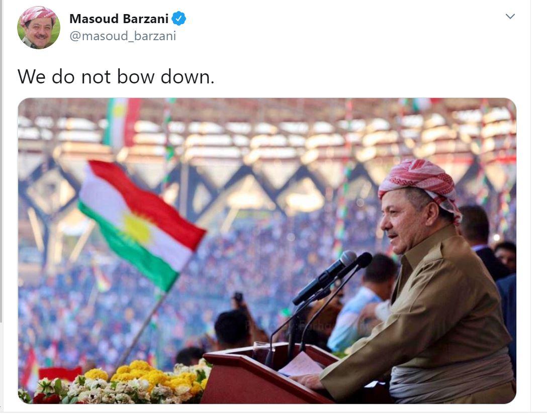 Referandumun yıl dönümünde Barzani'den önemli mesaj: Boyun Eğmiyoruz