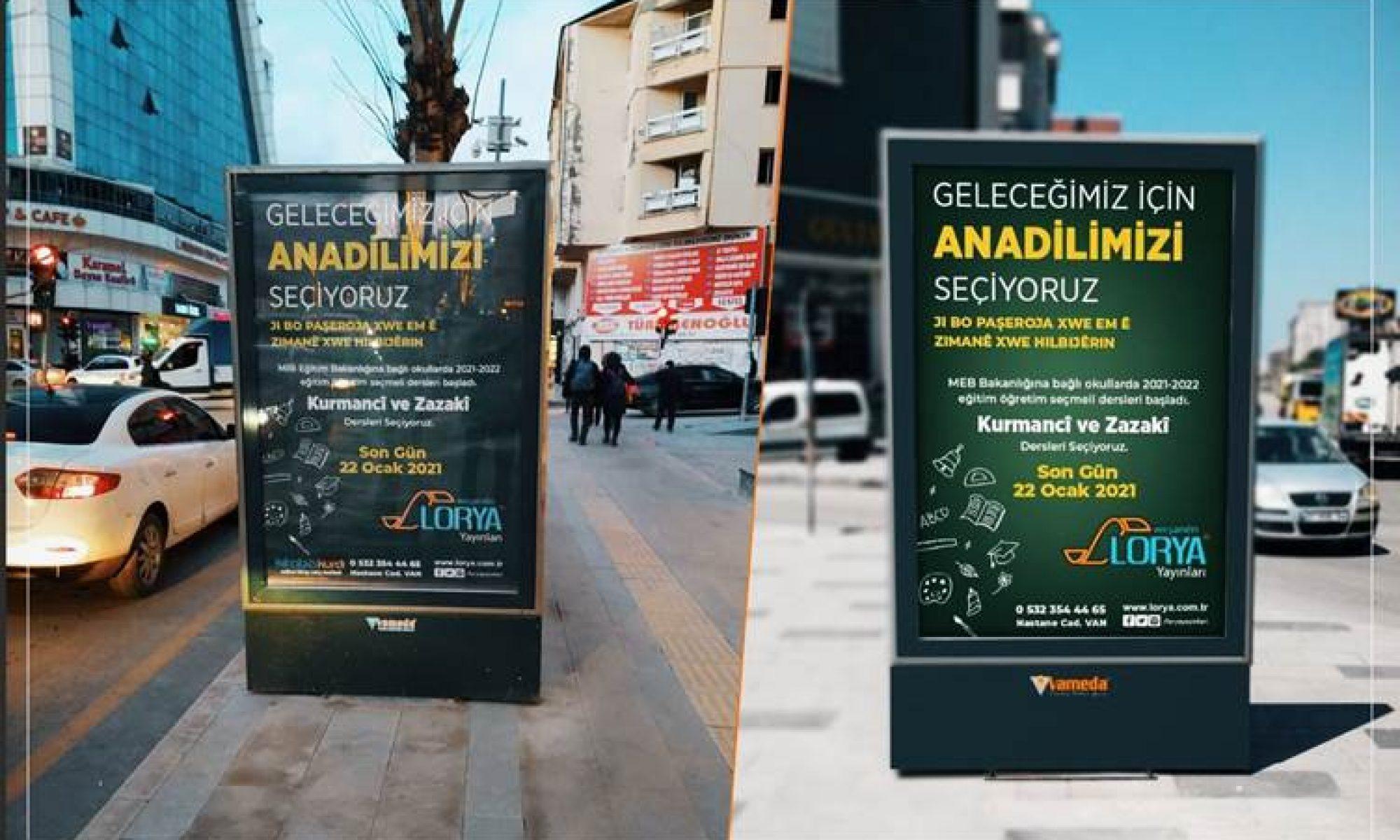 """Üç Kürt yayınevinden sevindiren kampanya: Van'da bilbordlara """"anadilimizi seçiyoruz"""" yazıldı"""