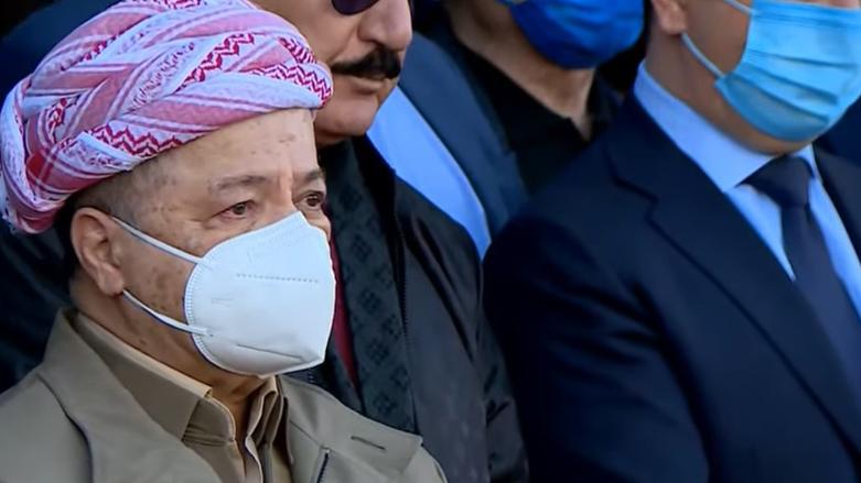Barzani 63 yıllık arkadaşı Dr. Roj nuri Şaweys'in cenaze töreninde göz yaşlarını tutamadı