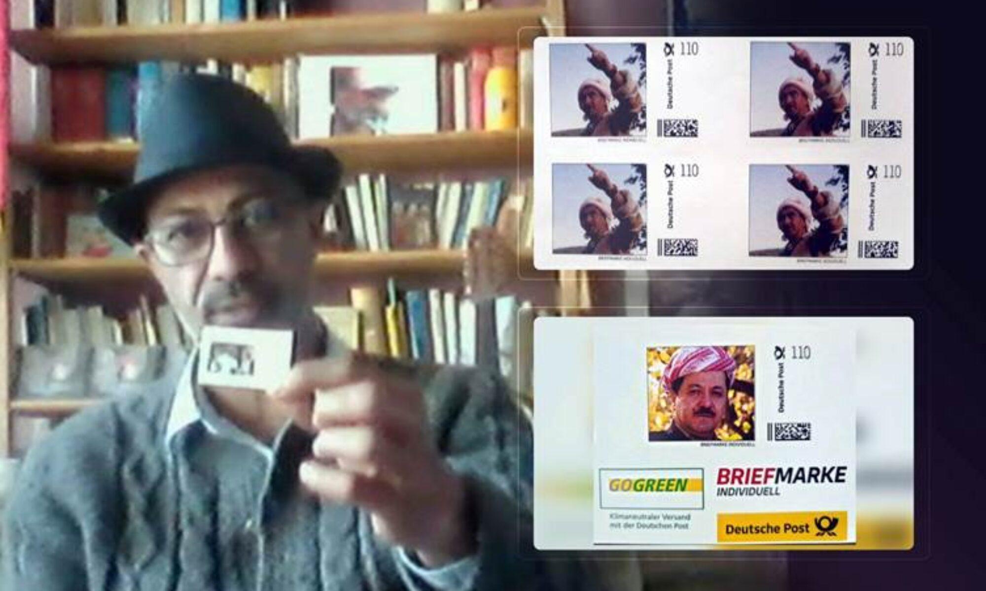 Rojavalı sanatçı Derweş'in çalışması ile yapılan Melle Mustafa Barzani fotoğraflı pulları Almanya'da kullanılacak