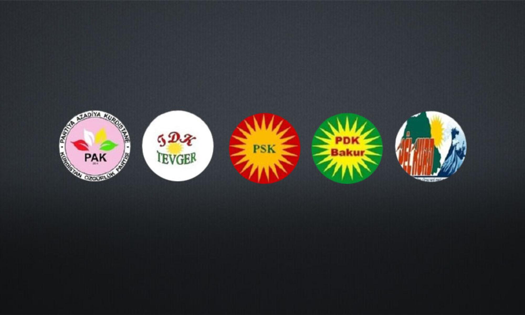 Beş Kürt örgütünden Türk operasyonlarına dönük açıklama: Amaç federasyonu ortadan kaldırma ve bu parçada devletleşmeyi önlemektir PELKURD , PAK, PDK Bakur, PSK, TEWGER