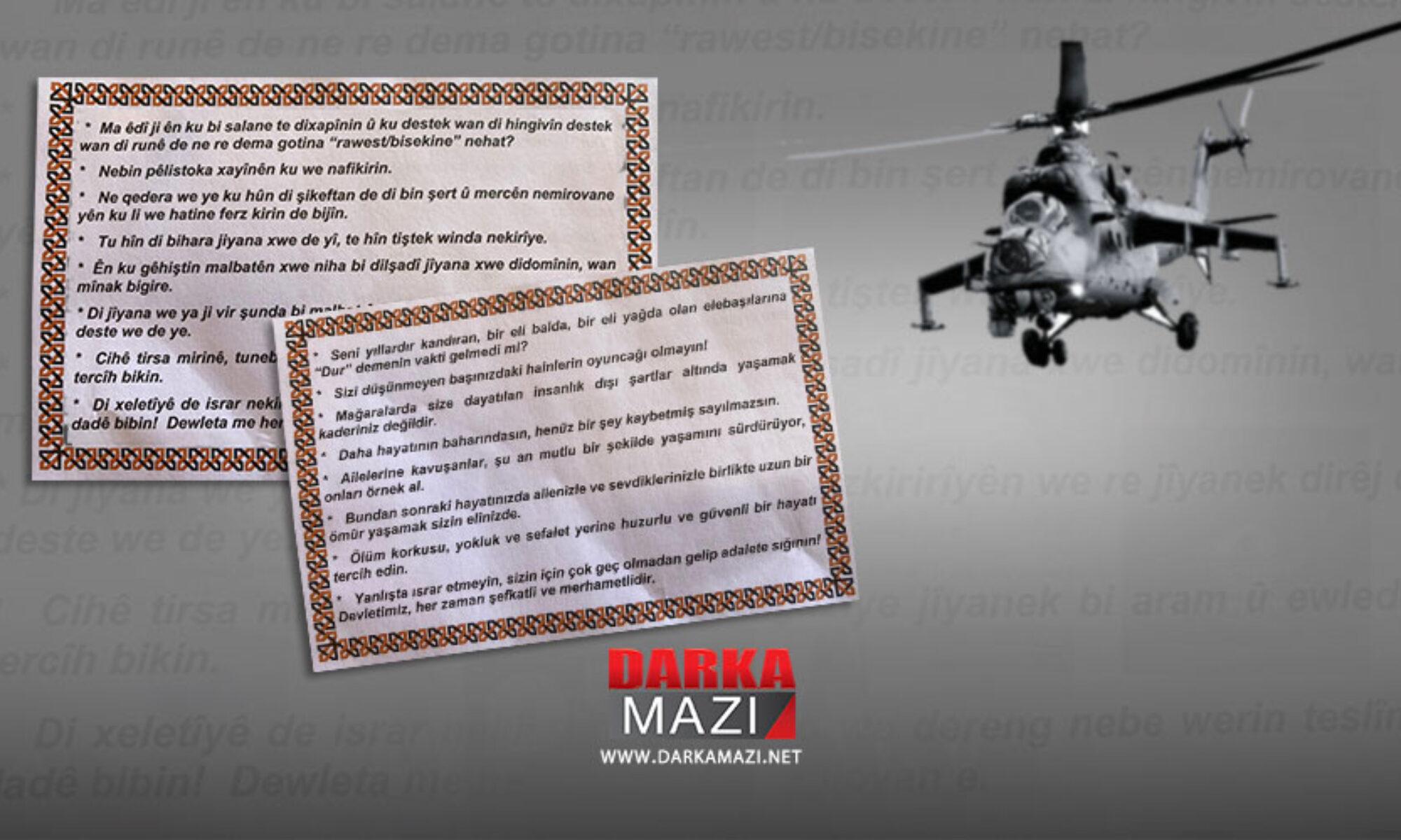Devlet Kürtçe biliyormuş: Uçaklardan gerillaya teslim olun çağrısı yapan Kürtçe-Türkçe bildiriler atıldı