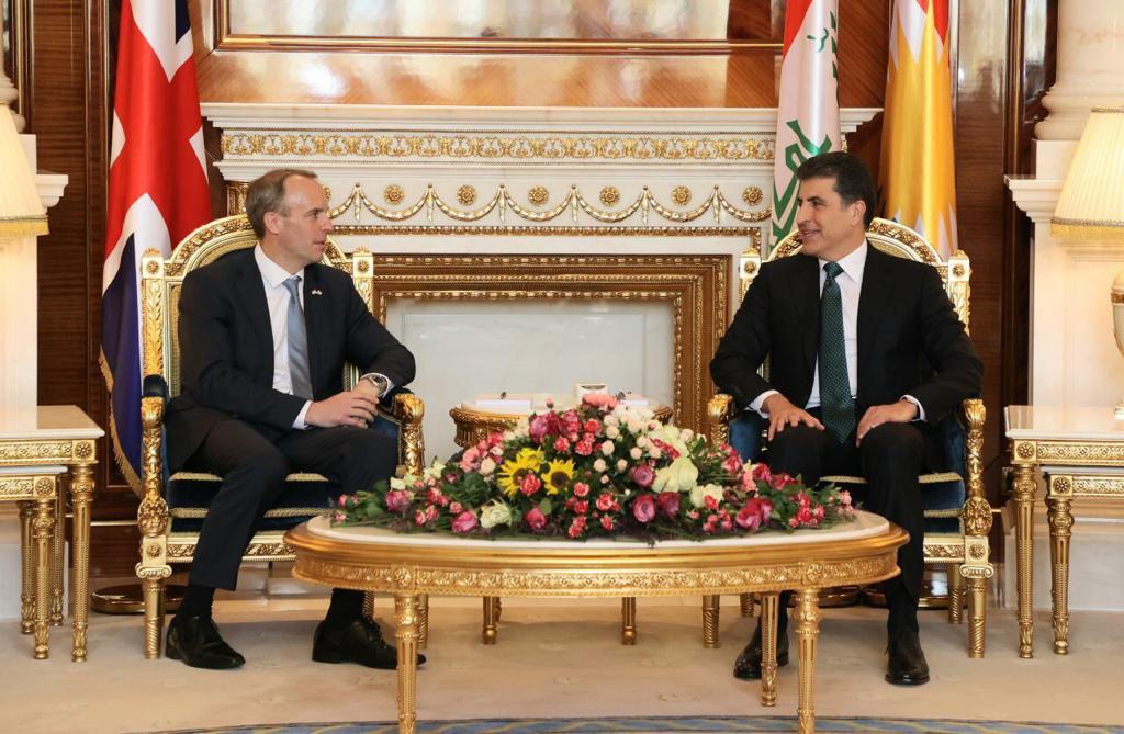Başkan Neçirvan Barzani, İngiltere Dışişleri Bakanı Raab ile bir araya geldi