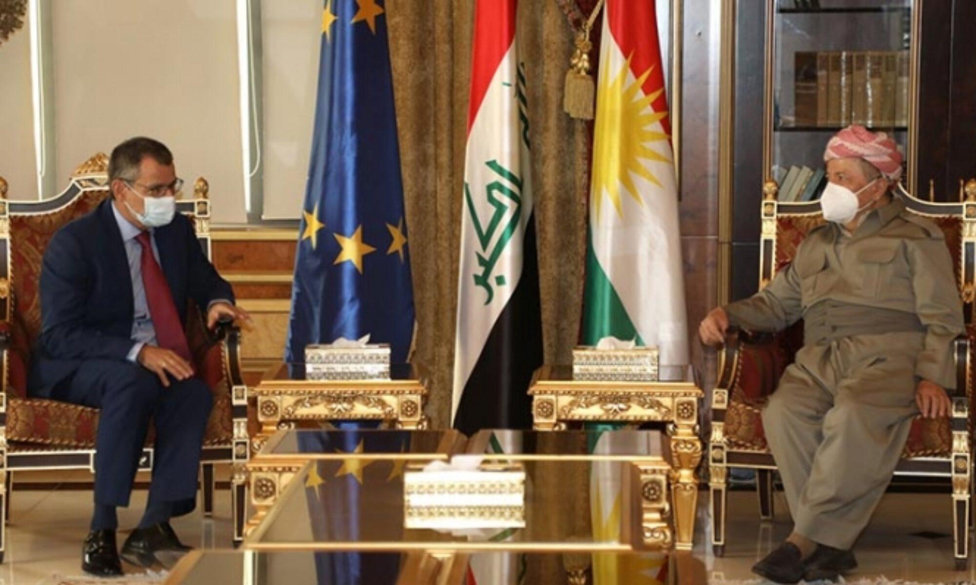 Mesut Barzani, Avrupa Birliği'nin Bağdat Büyüelçisi ile Suriye meselesini görüştü