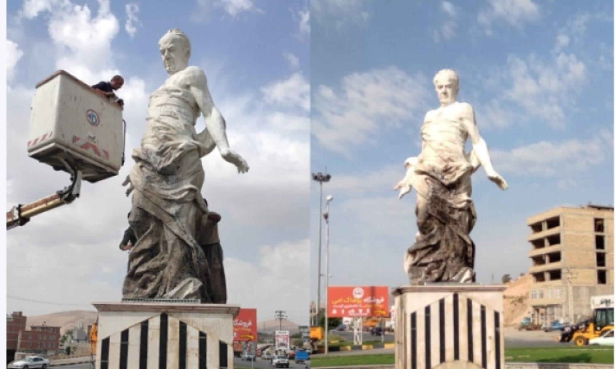 Mahabad'da Kürt şair-yazar Hejar Mukrîyanî'nin heykeli yakıldı