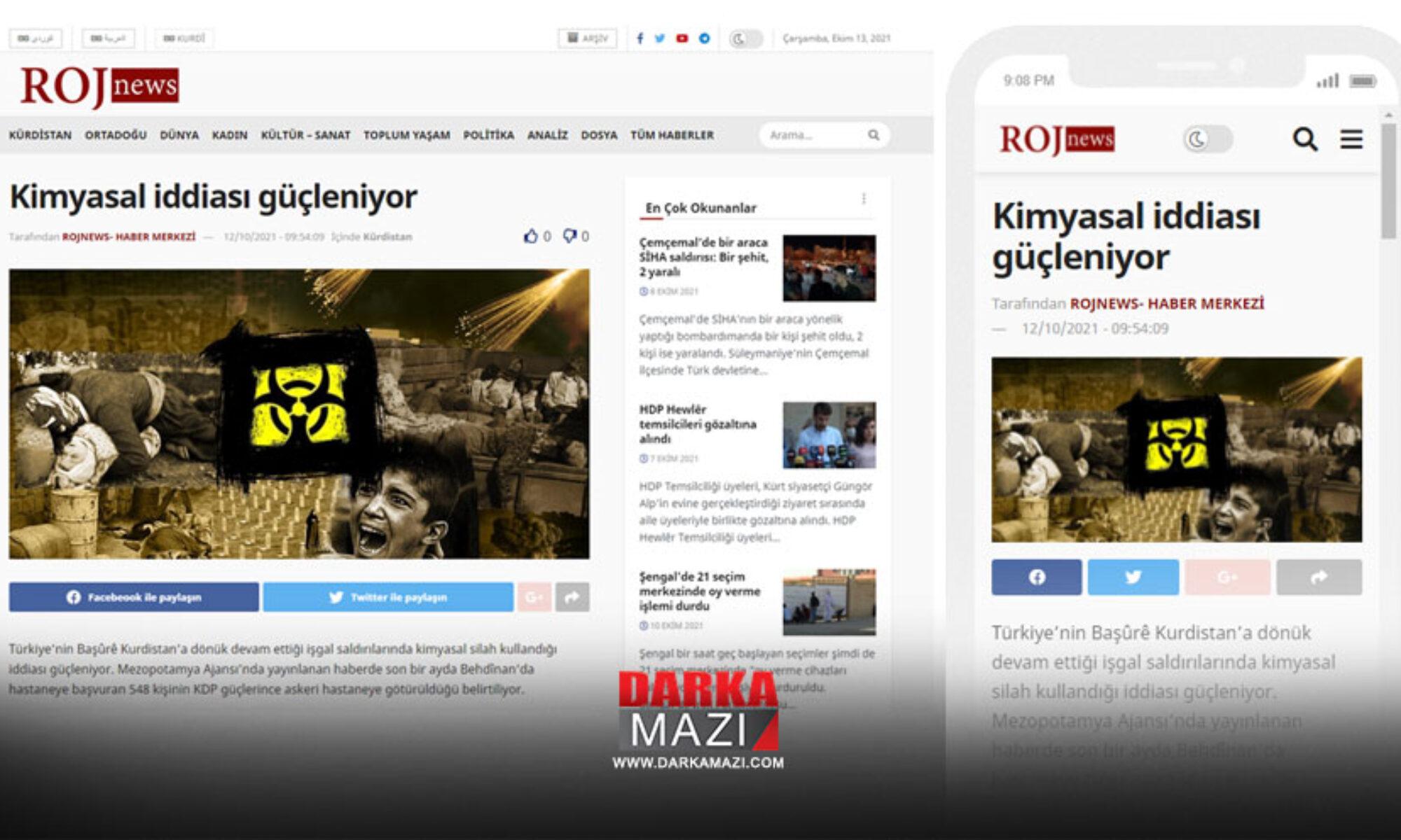 PKK medyası: Duhok'ta kimsal silahtan etkilenen 544 kişi gizli tedavi ediliyor Rojnews, Mezopotamya haber ajansı, Kani Masi,